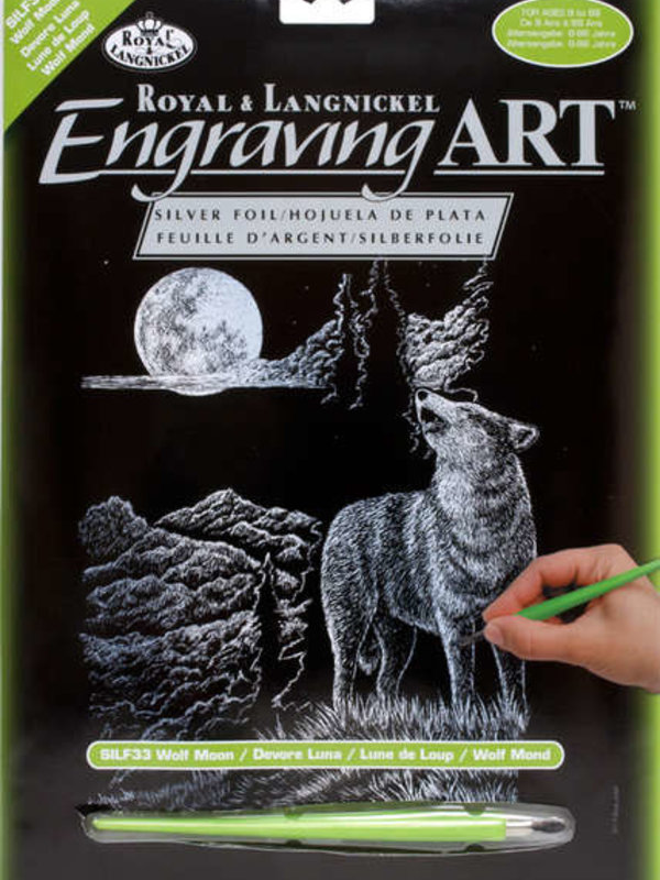 Engraving Art Silver Wolf Moon