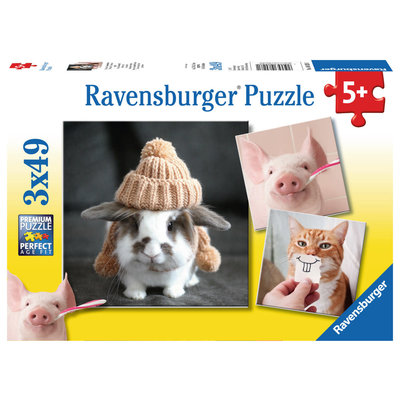 Ravensburger Ravensburger Puzzle 3x49pc Funny Animal Portraits