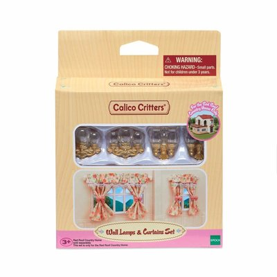 Calico Critters Calico Critters Room Wall Lamps & Curtains Set