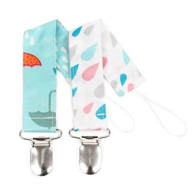 Bumkins Pacifier Clip Raindrops/Umbrella