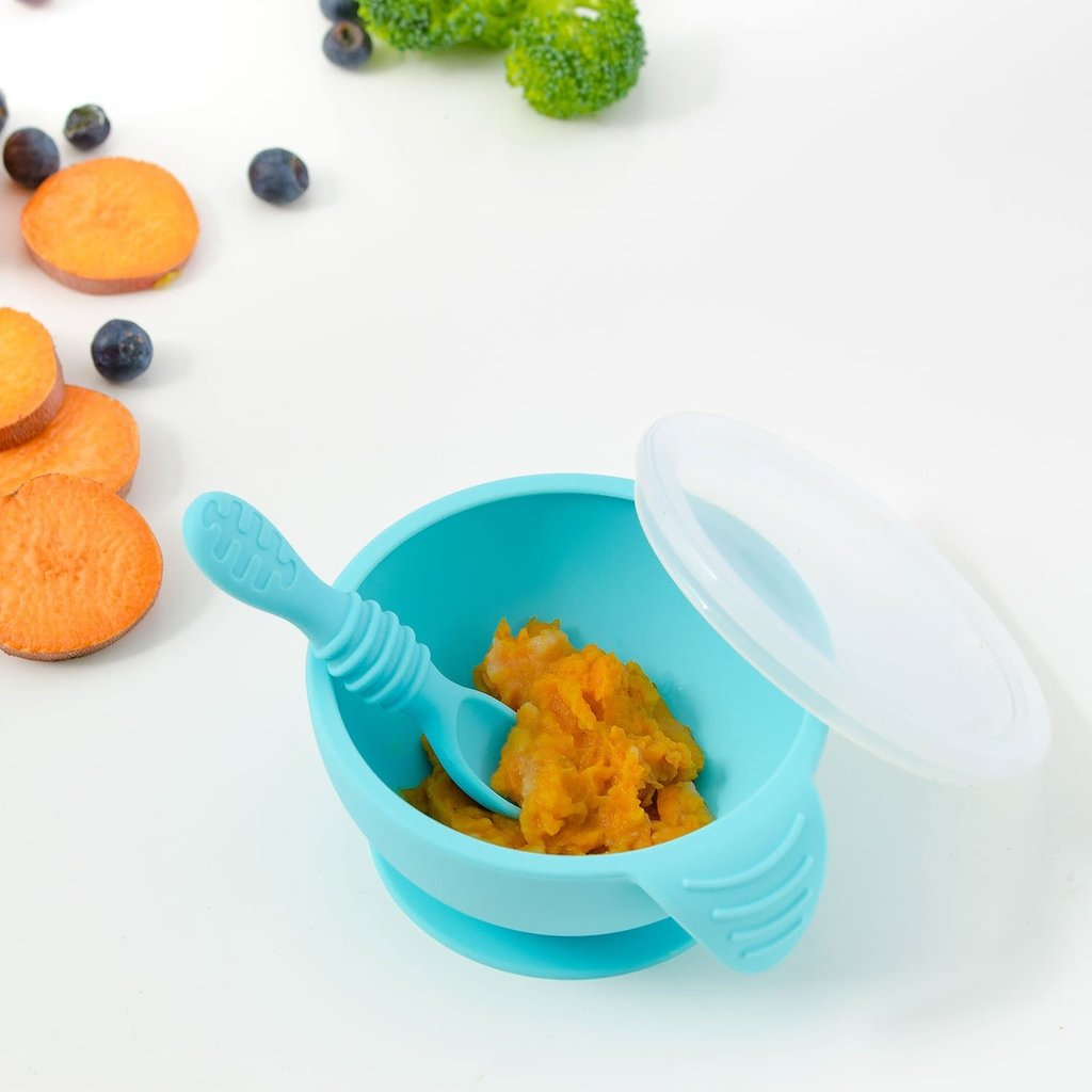 Bumkins Silicone Feeding Set with Lid Blue