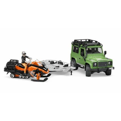 Bruder Land Rover with Snowmobile