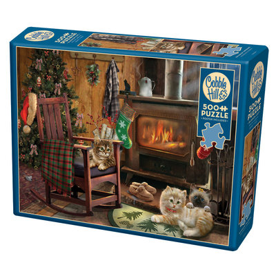 Cobble Hill Puzzles Cobble Hill Puzzle 500pc Kittens by the Stove Christmas