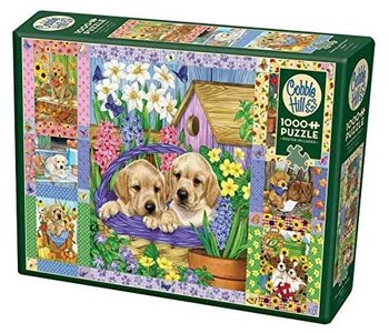 Cobble Hill Puzzle 1000pc Puppies and Posies Quilt