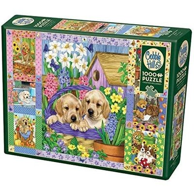 Cobble Hill Puzzles Cobble Hill Puzzle 1000pc Puppies and Posies Quilt