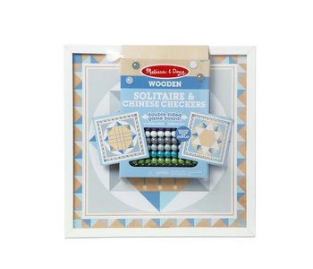 Melissa & Doug Board Game Solitaire & Chinese Checkers Blue