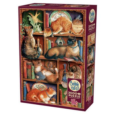 Cobble Hill Puzzles Cobble Hill Puzzle 2000pc Feline Bookcase