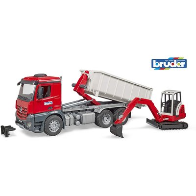 Bruder Bruder Truck with Roll-Off Container and Mini Excavator