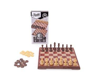 Rustik Game Magnetic Chess/Checkers  Peachwood