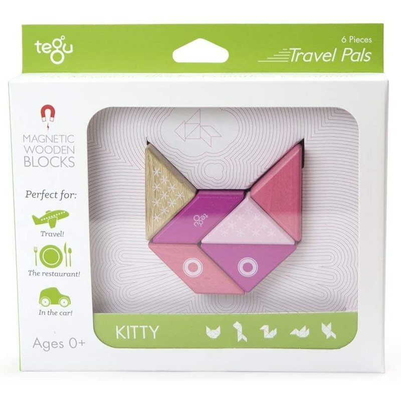 Tegu Tegu Magnetic Wooden Blocks Travel Pals Kitty