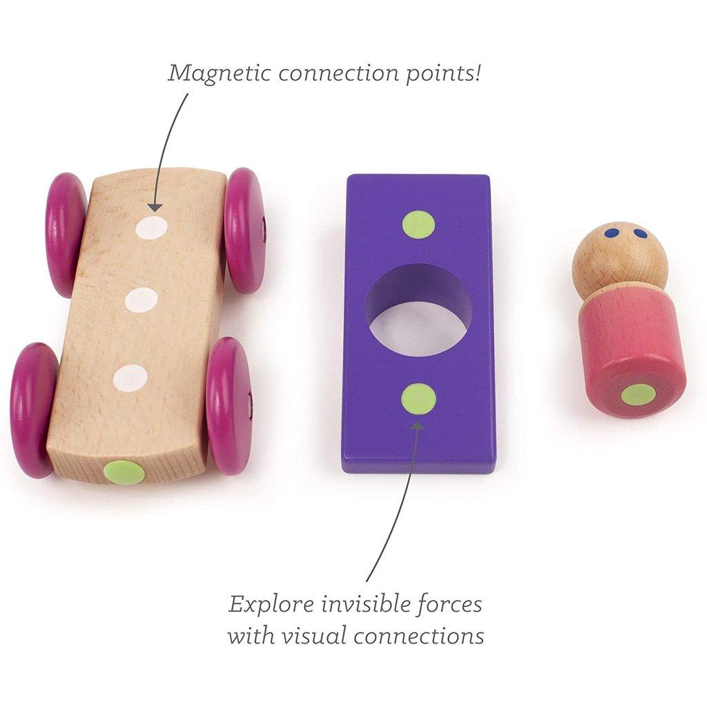 Tegu Tegu Magnetic Wooden Blocks Baby Purple Racer