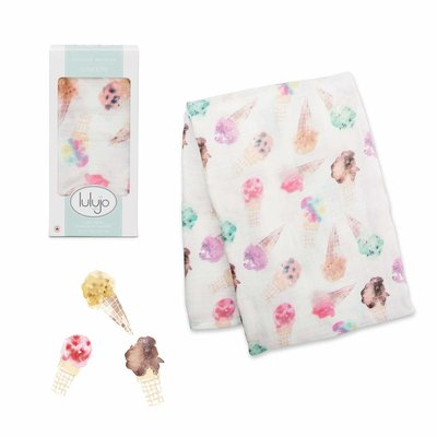 Lulujo Deluxe Muslin Swaddle Ice Cream