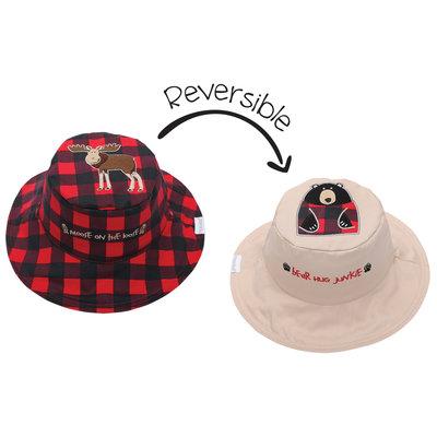 FlapJackKids Reversible Sun Hats Moose Blackbear Large