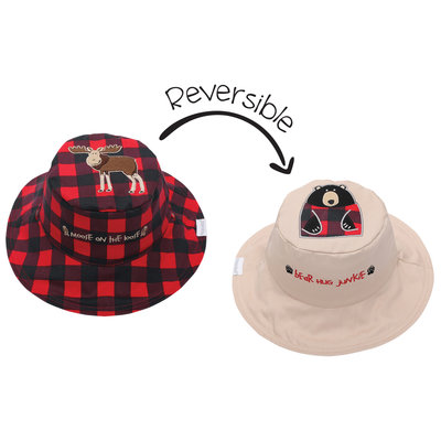 FlapJackKids Reversible Sun Hats Moose Blackbear Small