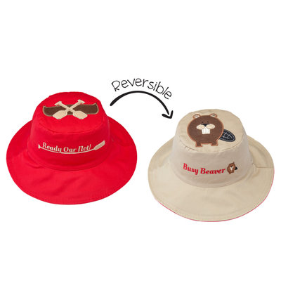 FlapJackKids Reversible Sun Hats Canoe/Beaver Small