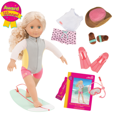 """Our Generation Our Generation 18"""" Deluxe Doll: Surfer Coral"""