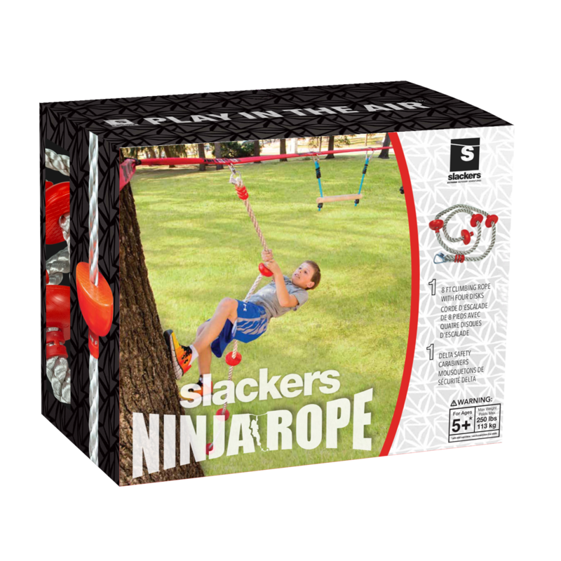 Slackers Slackers Ninja Climbing Rope 8' with Foot Holds