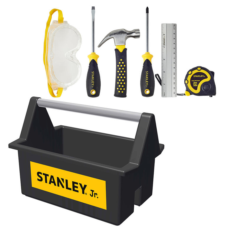 Stanley Jr. Open Tool Box & 5 Tools