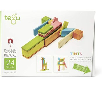 Tegu Magnetic Wooden Block 24pc Tints