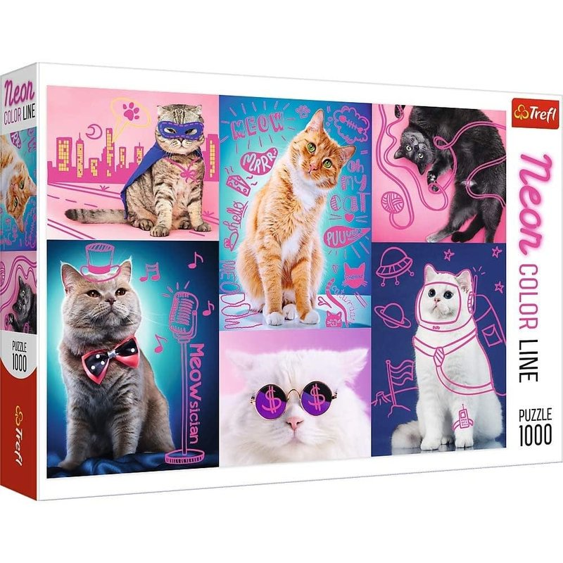 Trefl Trefl Puzzle 1000pc Neon Super Cats