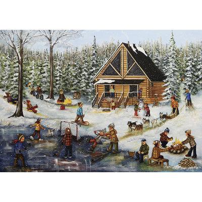 Trefl Puzzle 1000pc Winter at Log Cabin