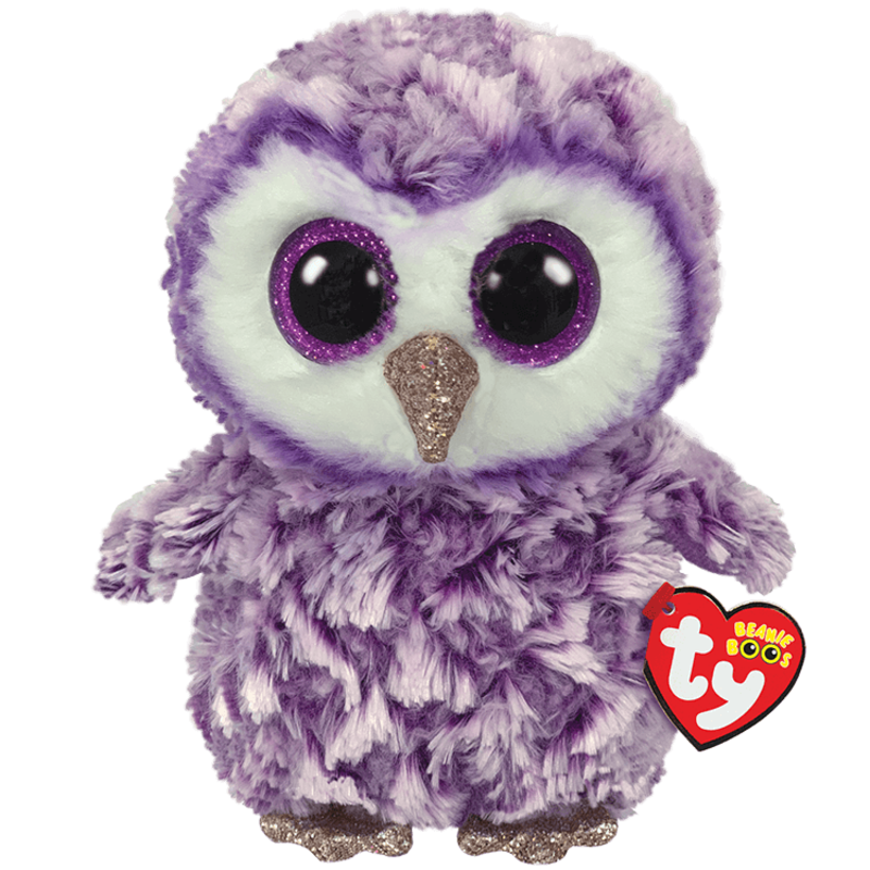 Ty Beanie Boo Medium Moonlight Owl Purple