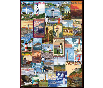 Eurographic Puzzle 1000pc Lighthouses Vintage Post