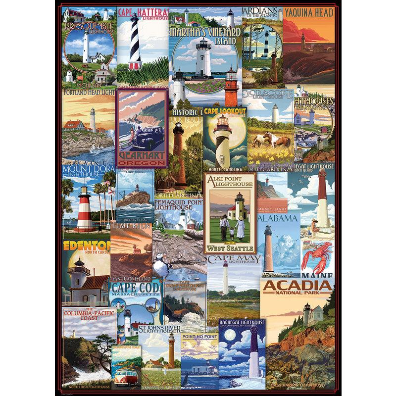 Eurographics Eurographic Puzzle 1000pc Lighthouses Vintage Post