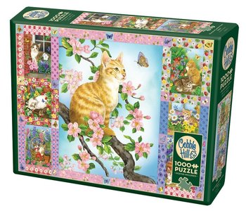 Cobble Hill Puzzle 1000pc Blossoms and Kittens Quilt