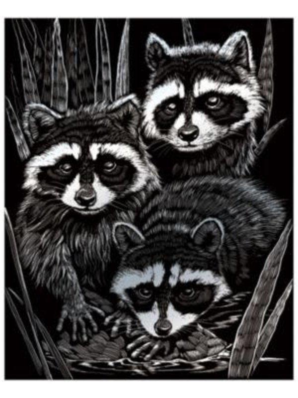 Engraving Art Silver Foil Raccoons