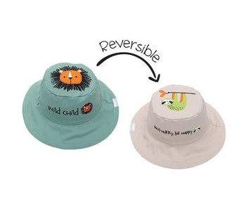FlapJackKids Reversible Sun Hats  Lion/Sloth Medium
