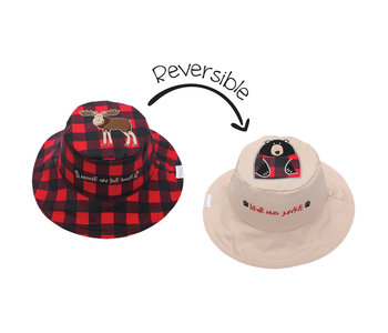 FlapJackKids Reversible Sun Hats  Moose Blackbear Medium