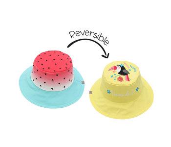 FlapJackKids Reversible Sun Hats  Watermelon/Toucan  Large