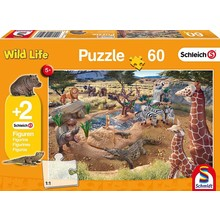 Schleich Puzzle & Figure 60pc At the Watering Hole