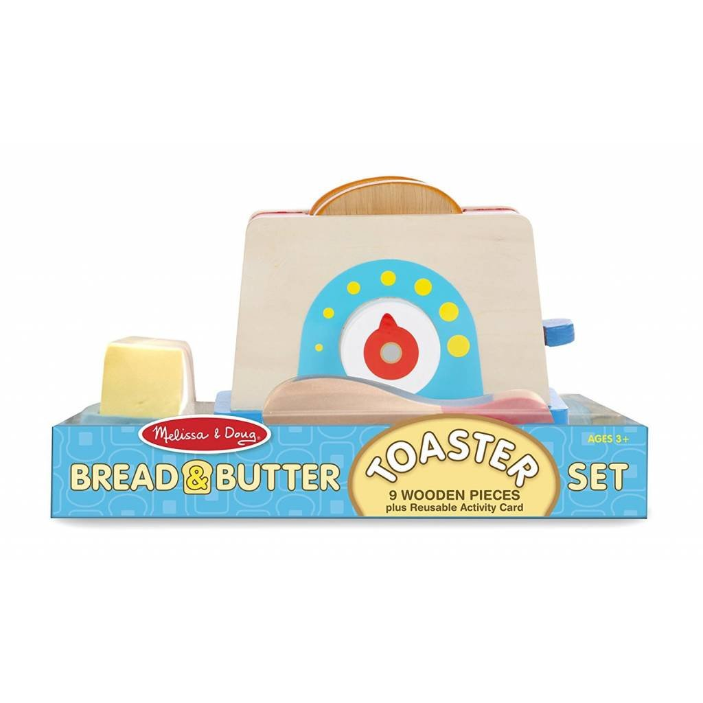 Melissa & Doug Play Food Bread & Butter Toaster Set