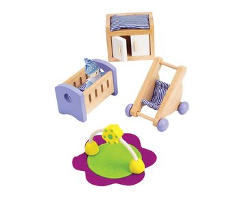 Hape Wooden Doll House Furniture: Baby's Room