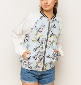 hem and thread Floral Ivory Bomber