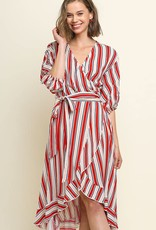 Umgee striped wrap dress