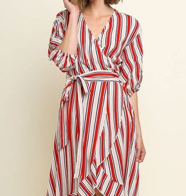 Umgee striped wrap dress