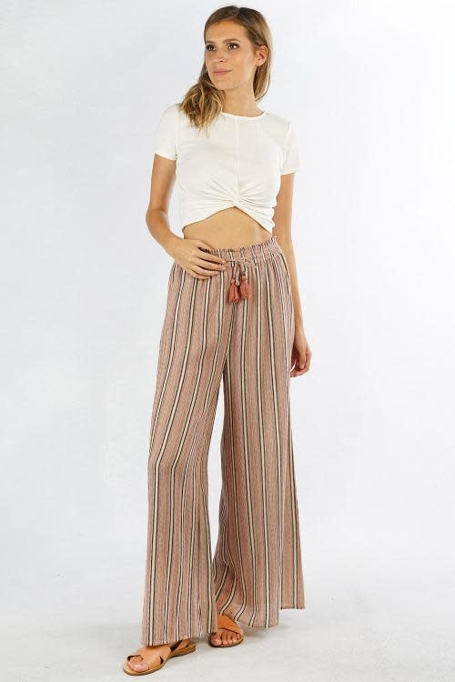 love stitch striped wide leg pant