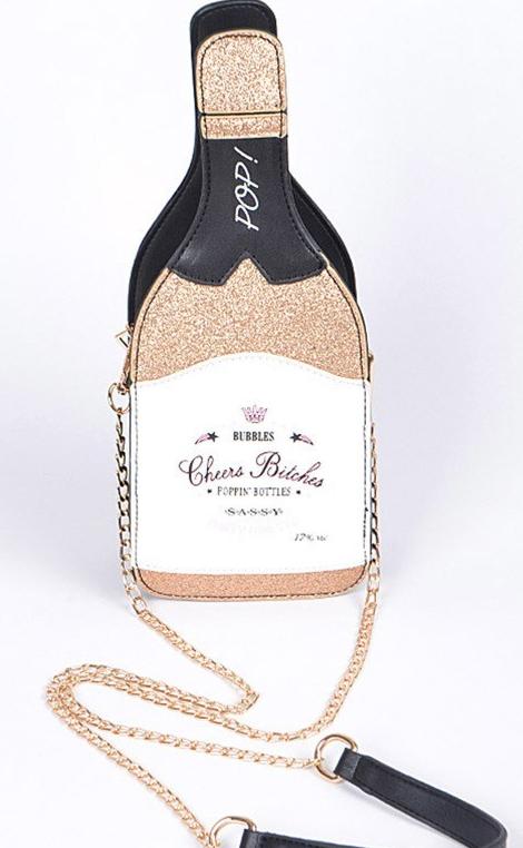 LA showroom champagne purse