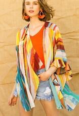 Umgee coral stripe kimono