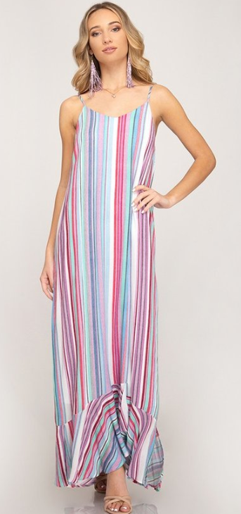she and sky multi stripe maxi