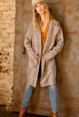 hem and thread choco plaid long coat