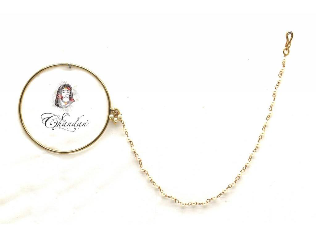 Gold Nose Ring With Pearl Chain