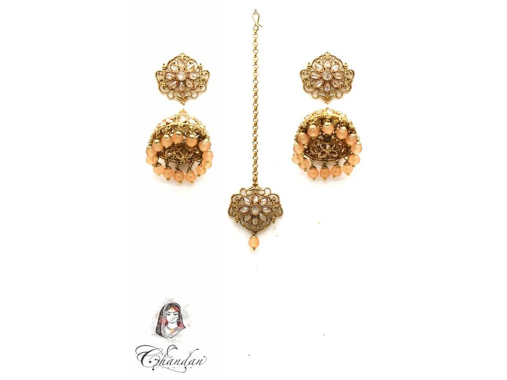 Gold Jhumka Tikka With Stones Peach Pearls Chandan Fashion