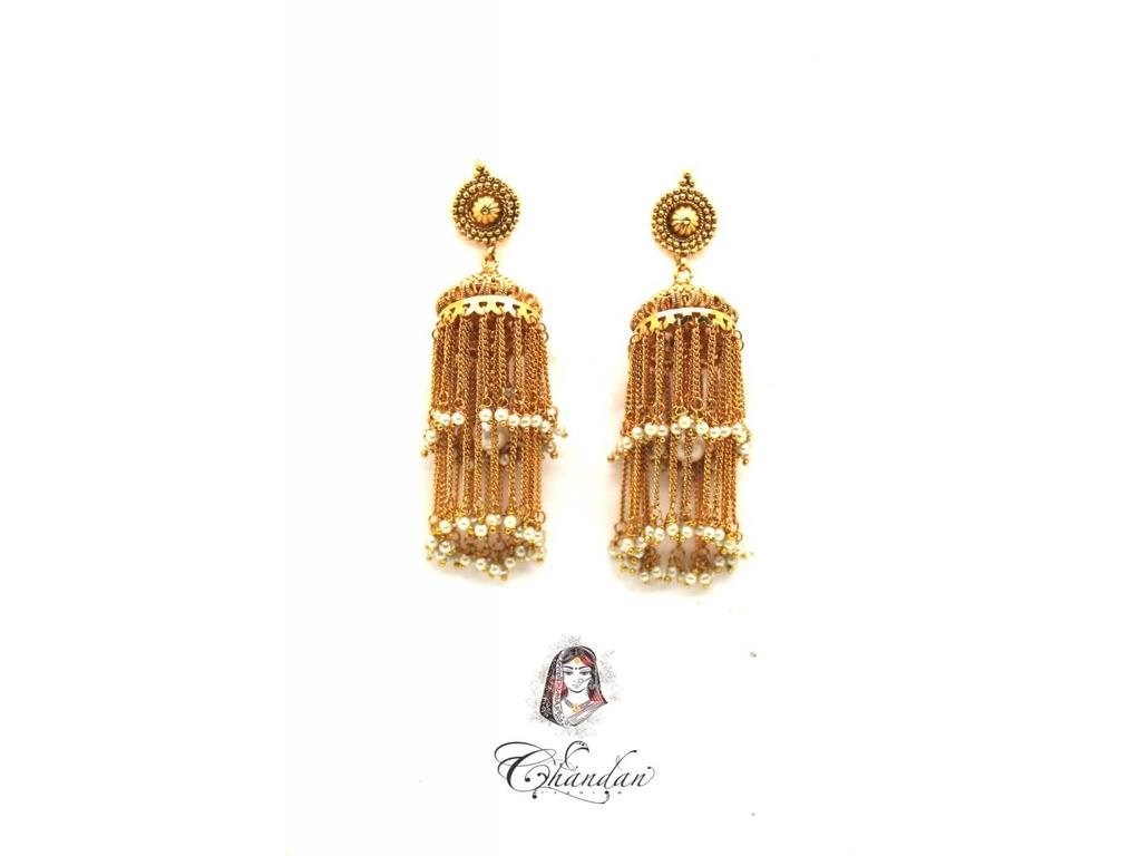 Gold Jhumka With White Pearl Chandan Fashion