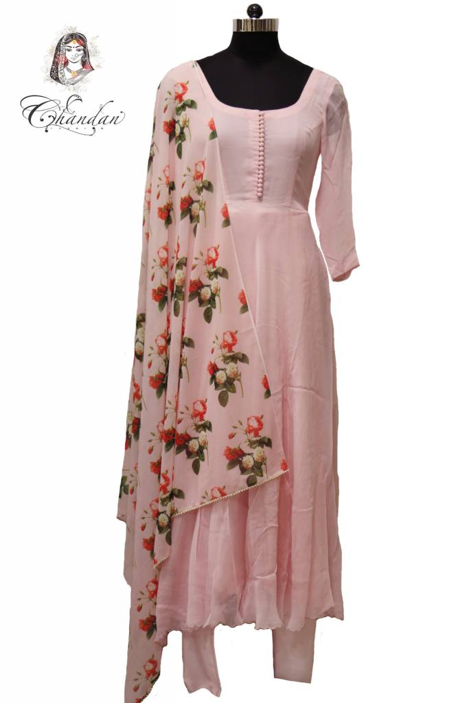 Baby Pink Suit With Printed Dupatta Chandan Fashion
