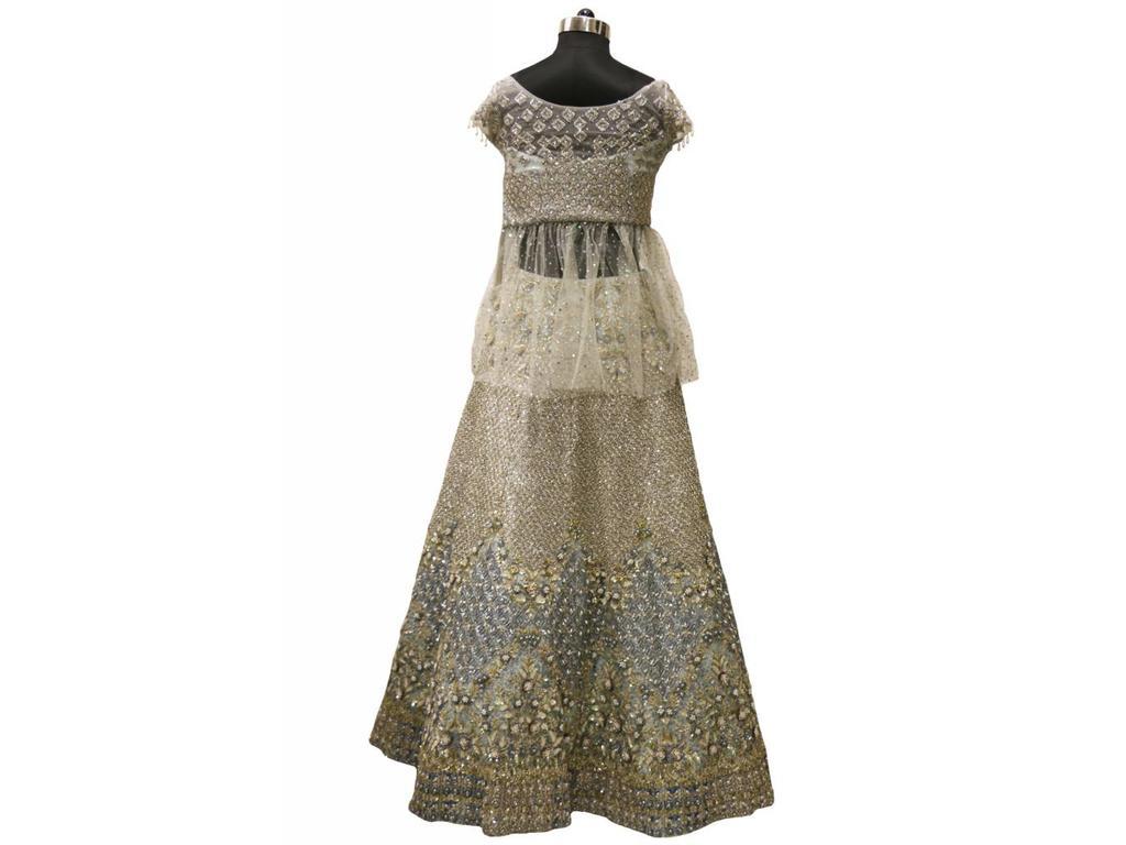 06aa12af09 Baby Blue & Grey Party Wear lehenga Choli 34 - Chandan Fashion
