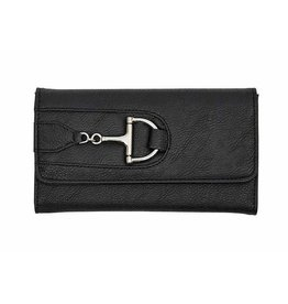 Faux Leather Snaffle Bit Wallet - Black
